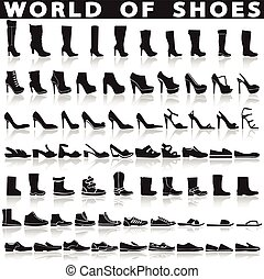 Shoes set of vector flat icons.