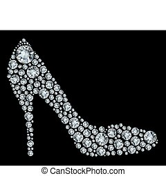 Shoes shape made up a lot of diamond on the black background