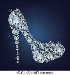 Shoes shape made up a lot of diamonds
