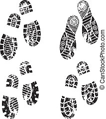 Shoes silhouette - Set of four pairs of shoes print. eps10