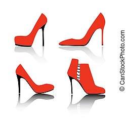 Shoes Silhouette on White Background Vector Illustration