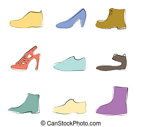 Shoes silhouettes artistic colors on white background