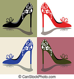 Shoes - Silhouettes of womens shoes, high heels with...
