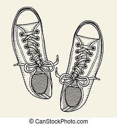 shoes., sommet, patineurs, vue.