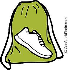 shoes., táska, tornaterem, tervezés, ikon