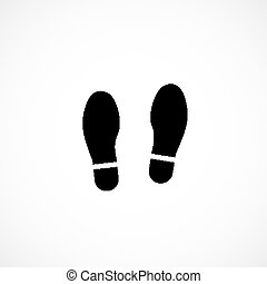 Shoes traces isolated on white background