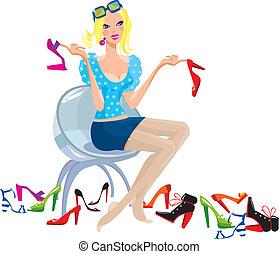 shoes., tries, femme, jeune