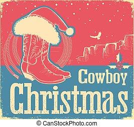 shoes, vaquero, occidental, santa sombrero, tarjeta de navidad