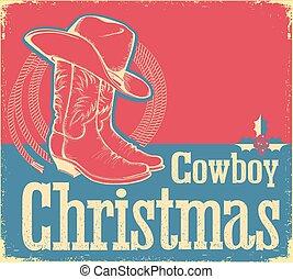 shoes, vaquero, sombrero occidental, tarjeta de navidad