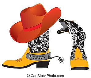 shoes, vaquero, vector, white., sombrero, especial, ropa