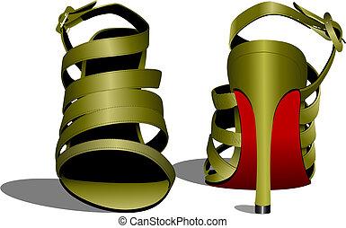 shoes., vecteur, femme, mode, illustration