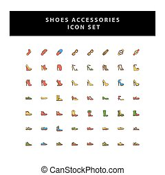 Shoes vector icon set with filled outline style design