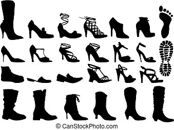 shoes, vector - shoe silhouettes set, vector