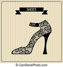 Shoes. Vintage lace background, floral ornament.