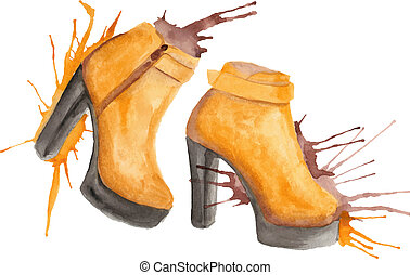 Shoes watercolor illustration