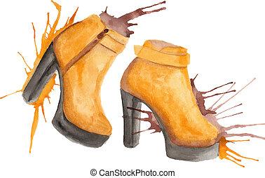 Shoes watercolor illustration