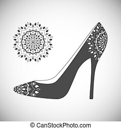 Shoes with hand drawn mandala. Vintage decorative elements....