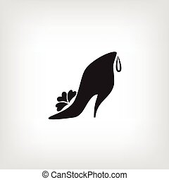 shoes., womens, icône, logo, store., stylisé, chaussure, conception, company.