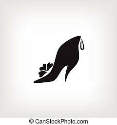 shoes., womens, icona, logotipo, store., stilizzato, scarpa, disegno, company.