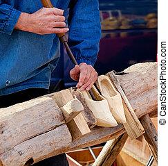 shoestraditional, skicklighet, av, tillverkning, nederländsk