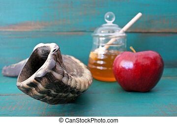 Shofar Honey and apple on a turquoise background - Shofar,...