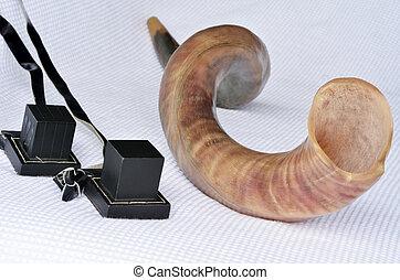 Shofar (horn) with Tefillin
