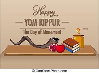shofar, kippur, feliz, logotipo, yom