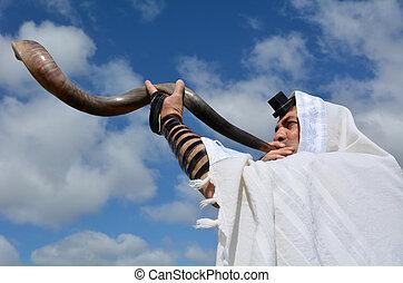 shofar, sopro, homem, judeu