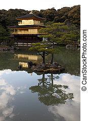 shogun, upravit, slavný, chrám, cože, zlatý, budova, skladné...
