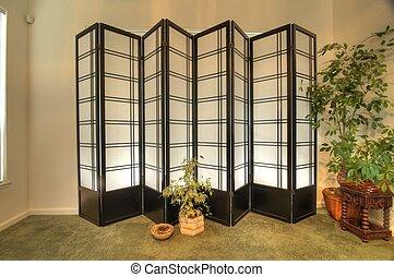 shoji screen against wall - a pair of shoji screens in front...