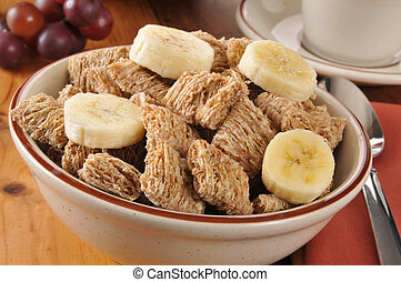 Shole wheat cereal with bananas