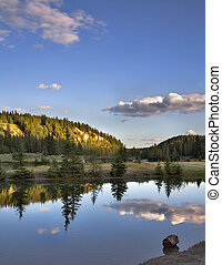 Shone reflections. - A smooth surface of lake and the ...