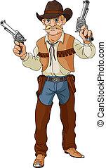 shoo, west., cowboy, bereit, wild