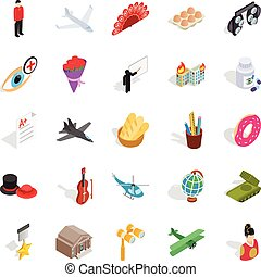 Shoot a movie icons set, isometric style