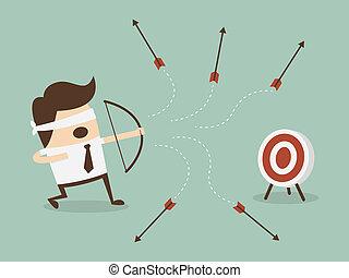 shoot Goal - Blindfold businessman shooting arrow