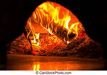 shoot of fire in a pizza oven