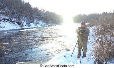 Shoot on winter river