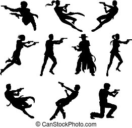 Shoot out silhouettes - Silhouettes of movie action sequence...