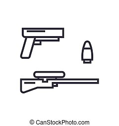 shooter game, gun, rifle, bullet concept vector thin line icon, symbol, sign, illustration on isolated background