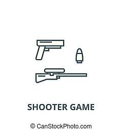 Shooter game, gun, rifle, bullet vector line icon, linear concept, outline sign, symbol