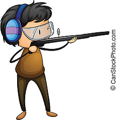 shooter - Illustration of a boy shooting