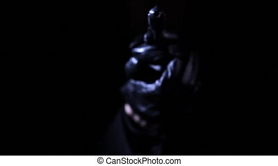 Shooter in the Darkness - High quality studio video shot in...
