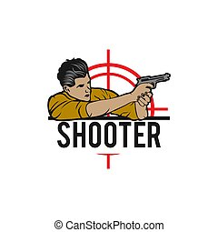 Special Forces soldier holds a pistol . Logo shooting club, military illustration.
