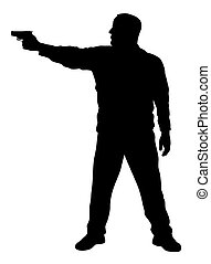 Shooter - Vector illustration of shooter silhouette