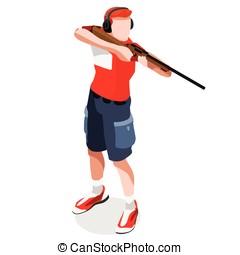 Shooting 2016 Sports Isometric 3D Vector Illustration