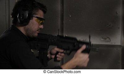 Shooting a rifle profile view