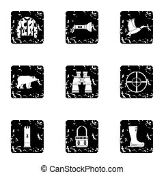 Shooting at animals icons set, grunge style