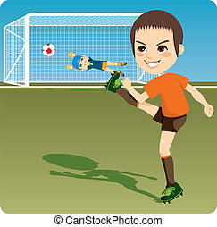 Boy kicking soccer ball to score a goal and win the competition