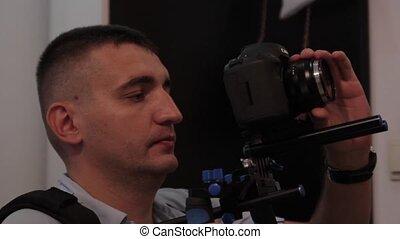 shooting backstage. Filming.