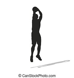 Shooting basketball player vector silhouette. Front view